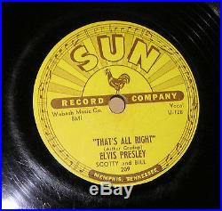 1954 Rockabilly 78 rpm ELVIS PRESLEY That's All Right Blue Moon SUN RECORDS