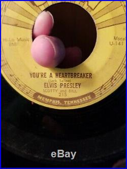 1955 Original Elvis Presley Sun Label 215 Push Marks 45 Milkcow Blues Boggie