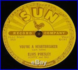 8ELVIS PRESLEY MILKCOW BLUES BOOGIE b/w HEARTBREAKER USA SUN 78 RPM E EXCELLENT