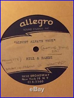 Almost Always True 78 rpm demo acetate for Elvis Presley Blue Hawaii LISTEN