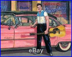 CHARLES PACE original oil painting 36 x 30 Elvis Presley Sun Records 57 Cadillac