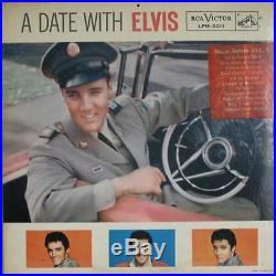 ELVIS PRESLEY A Date with Elvis LP OG gfld black long play STICKER/CALENDAR VG+