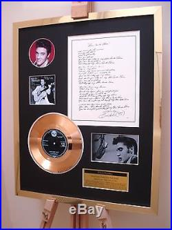 ELVIS PRESLEY BLUE SUEDE SHOES GOLD DISC 7 RECORD + ORIGINAL HANDWRITTEN LYRICS