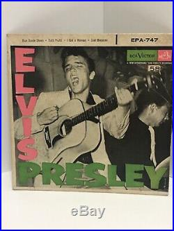 ELVIS PRESLEY Blue Suede Shoes EP Lined RCA 45 Rockabilly EPA-747+AD Cover NICE