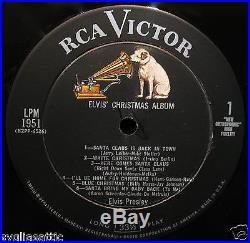 ELVIS PRESLEY-ELVIS' CHRISTMAS ALBUM-RCA VICTOR #LPM 1951-Scarce Long Play Label