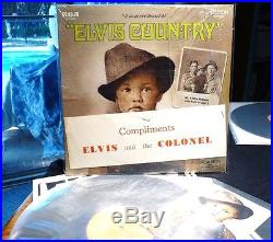 ELVIS PRESLEY ELVIS COUNTRY w Compliments ELVIS & the COLONEL banner GR. 10