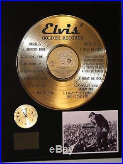 Elvis Presley Golden Records Gold Lp Ltd Edition Record & Clock Display