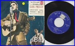 ELVIS PRESLEY Loving you / Teddy bear Italy 7 Blue labels Moon cover MEGARARE