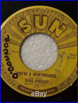 ELVIS PRESLEY Milkcow Blues Boogie 45 rpm SUN #215 1954 ORIGINAL 3 PUSH MARKS