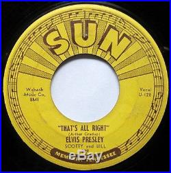ELVIS PRESLEY ORIG'54 SUN 209 That's All Right 4 PUSH MARKS PLAYS NICELY