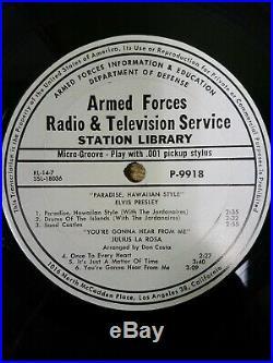 ELVIS PRESLEY Paradise, Hawaiian Style ARMED FORCES RADIO & TV SERVICE 12 P9918