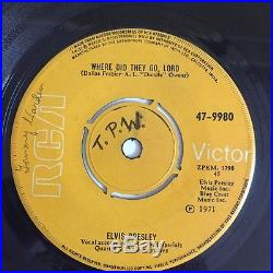 ELVIS PRESLEY RAGS TO RICHES/WHERE DID THEY GO LORD RARE RCA SINGLE 45 INDIA VG+