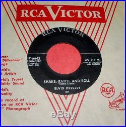 ELVIS PRESLEY Shake Rattle & Roll 45 Rare NO DOG Original RCA Victor Rockabilly