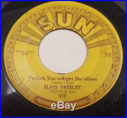 ELVIS PRESLEY Sun 217 Baby Let's Play House/ I'm Left You're Right PUSH MARKS