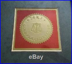ELVIS Presley Special Ed. Gold Plated #1 Hits Record, W / PROOF SEAL, OAK FRAME