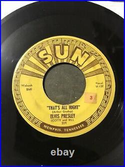 Elvis 45 Original SUN 209 Thats All Right Blue Moon of Kentucky Push Marks VG