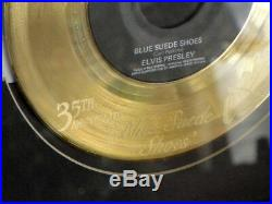 Elvis Blue Suede Shoes 35th Anniversary Etched Gold Plated Record Framed 1989
