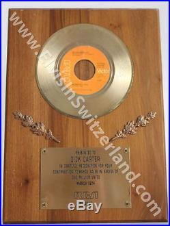 Elvis Presley 1974 RCA In-House Gold Record Award for Burning Love 45 Single