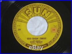 Elvis Presley 45 rpm Sun Record Good Rockin Tonight with Pushmarks Original