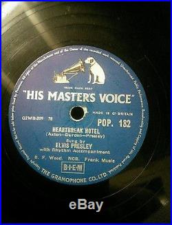 Elvis Presley 78 His Masters Voice Hound Dog, Heartbreak hotel All Shook up Rare