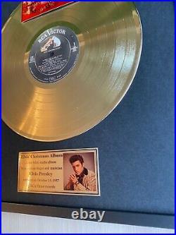 Elvis Presley Christmas Album Vinyl Gold Metallized Record Mounted In Frame