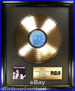 Elvis Presley Elvis In Concert LP Gold Non RIAA Record Award To RCA Records