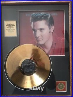 Elvis Presley Framed 24k Gold Plated Record Number 1 Hits