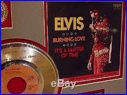 Elvis Presley Framed 24k Gold Record Etched Lyrics Burning Love USA Ships Free