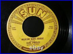 Elvis Presley Milkcow Blues Boogie 45 Record Original Sun 215 Push Marks