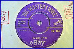 Elvis Presley/My Baby Left Me/1956 HMV 7 Single/Removable Centre/Gold Text