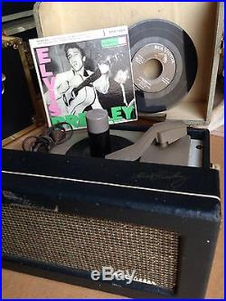 Elvis Presley Phono & 3 Records & Signed In Gold From Factory On Phono Graph