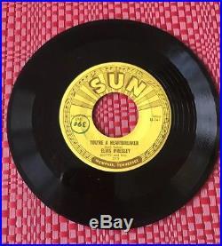 Elvis Presley Sun 215 Milkcow Blues Boogie / You're A Heartbreaker 45 Vintage EX