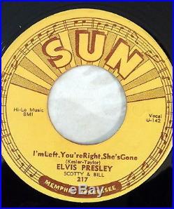 Elvis Presley Sun Records 45's Original 5 Record Set 209 210 215 217 223