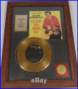 Elvis Presley Vintage Framed Gold Plated Record Heartbreak Hotel Jailhouse Rock