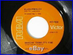 Elvis Presley Wear My Ring / Doncha Think Its Time Orange Label 447-0622 Rare
