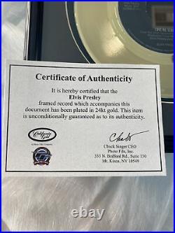Framed Special Edition Elvis Presley Love Me Tender 24 Kt Gold 45m Record Rare