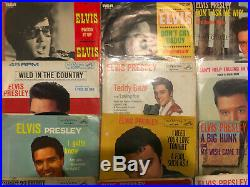 Lot of 25 ELVIS PRESLEY 45 RPM Records Picture Sleeves Jailhouse Rock