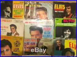 Lot of 4 ELVIS PRESLEY 45 RPM Records Picture Sleeves Jailhouse Rock King Creole