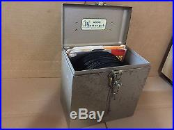 Metal PLATTER PAK Record Case STUFFED with 60 ELVIS PRESLEY 45s AND EPs