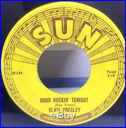 Orig ELVIS PRESLEY GOOD ROCKIN TONIGHT I DONT CARE 45 SUN 210 45 NM 3 Push Marks