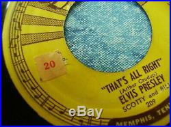 Orig! SUN 209 ELVIS PRESLEY THAT'S ALL RIGHT BLUE MOON OF KENTUCKY 45 PUSH MARKS