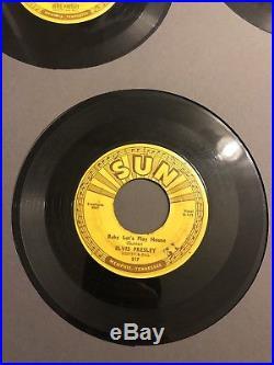 Original Framed All 5 Elvis Presley Sun 45s With Push Marks G 209 210 215 217 223
