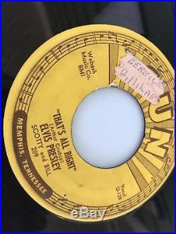 Original Vintage 1954 Elvis Presley Thats All Right Sun Record 45 Blue Moon