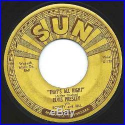 RARE Elvis Presley 45 7 That's All Right / Blue Moon Of Kentucky SUN 209 Hear