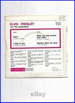 Rare Elvis Presley 45 Tours With The Jordanaires/dont/1968/rca/86.299m