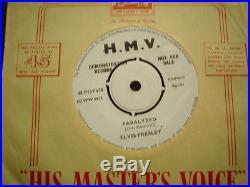 Very Rare Elvis Presley Uk Hmv One Sided Demo Paralyzed- Vg+++