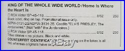 WOW! MINT PROMO ONLY Elvis Presley KING OF THE WHOLE WIDE WORLD SP45-118